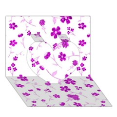 Sweet Shiny Floral Pink Heart 3d Greeting Card (7x5)