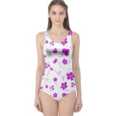 Sweet Shiny Floral Pink Women s One Piece Swimsuits by ImpressiveMoments