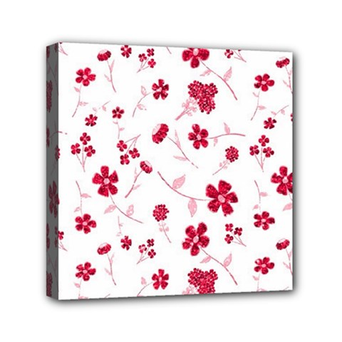 Sweet Shiny Floral Red Mini Canvas 6  X 6  by ImpressiveMoments