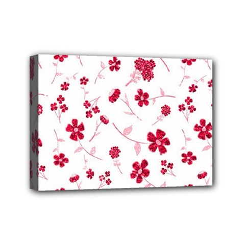 Sweet Shiny Floral Red Mini Canvas 7  x 5  by ImpressiveMoments