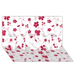 Sweet Shiny Floral Red #1 Dad 3d Greeting Card (8x4)  by ImpressiveMoments