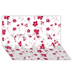 Sweet Shiny Floral Red Hugs 3d Greeting Card (8x4)  by ImpressiveMoments