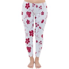 Sweet Shiny Floral Red Winter Leggings by ImpressiveMoments