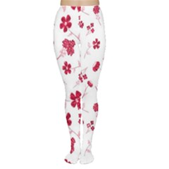 Sweet Shiny Floral Red Women s Tights by ImpressiveMoments