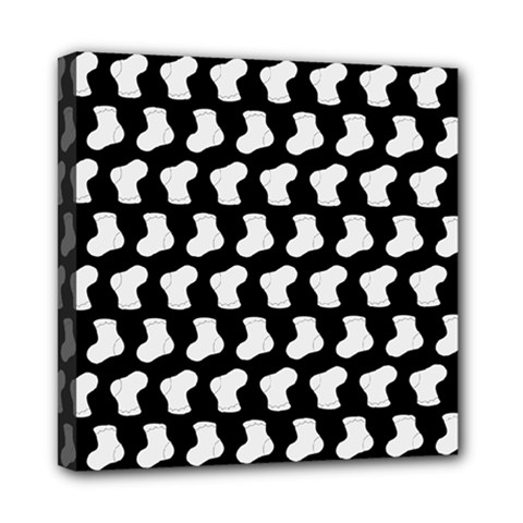 Black And White Cute Baby Socks Illustration Pattern Mini Canvas 8  X 8  by creativemom