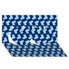 Blue Cute Baby Socks Illustration Pattern Twin Hearts 3d Greeting Card (8x4)
