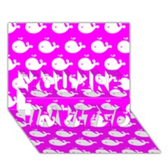 Cute Whale Illustration Pattern You Are Invited 3d Greeting Card (7x5)  by creativemom