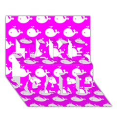 Cute Whale Illustration Pattern Take Care 3d Greeting Card (7x5)