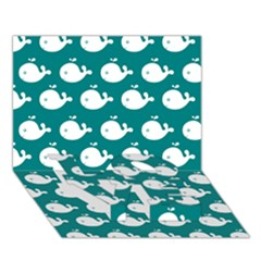 Cute Whale Illustration Pattern Love Bottom 3d Greeting Card (7x5)