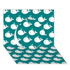 Cute Whale Illustration Pattern Circle 3d Greeting Card (7x5)  by creativemom