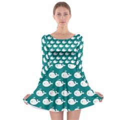Cute Whale Illustration Pattern Long Sleeve Skater Dress