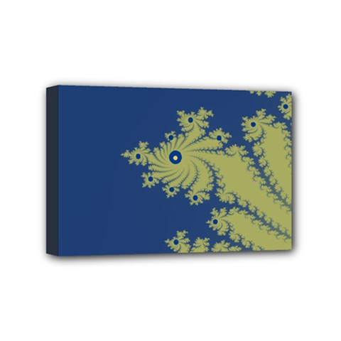 Blue And Green Design Mini Canvas 6  X 4  by theunrulyartist