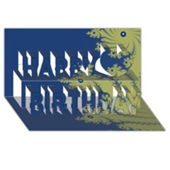 Blue And Green Design Happy Birthday 3d Greeting Card (8x4)