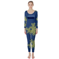 Blue And Green Design Long Sleeve Catsuit by digitaldivadesigns