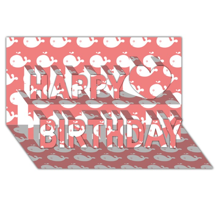 Cute Whale Illustration Pattern Happy Birthday 3D Greeting Card (8x4)