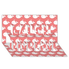 Cute Whale Illustration Pattern Laugh Live Love 3d Greeting Card (8x4)  by creativemom