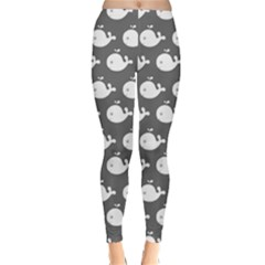 Cute Whale Illustration Pattern Winter Leggings by creativemom
