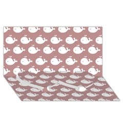 Cute Whale Illustration Pattern Twin Heart Bottom 3d Greeting Card (8x4)