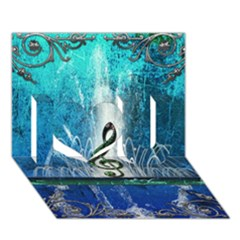 Clef With Water Splash And Floral Elements I Love You 3d Greeting Card (7x5)  by FantasyWorld7