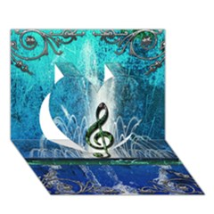 Clef With Water Splash And Floral Elements Heart 3d Greeting Card (7x5)  by FantasyWorld7