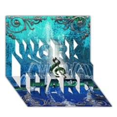 Clef With Water Splash And Floral Elements Work Hard 3d Greeting Card (7x5)
