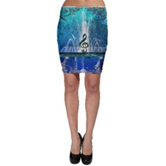 Clef With Water Splash And Floral Elements Bodycon Skirts by FantasyWorld7