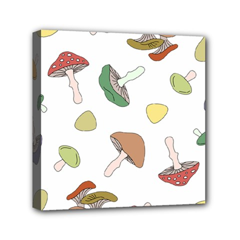 Mushrooms Pattern 02 Mini Canvas 6  X 6  by Famous