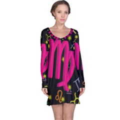 Virgo Floating Zodiac Sign Long Sleeve Nightdresses