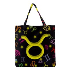 Taurus Floating Zodiac Sign Grocery Tote Bags by theimagezone