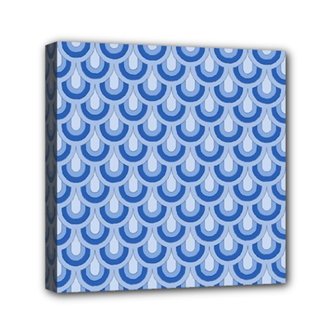 Awesome Retro Pattern Blue Mini Canvas 6  X 6  by ImpressiveMoments