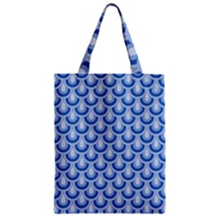 Awesome Retro Pattern Blue Zipper Classic Tote Bags by ImpressiveMoments