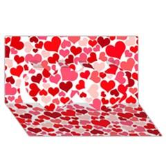 Heart 2014 0937 Twin Hearts 3d Greeting Card (8x4)
