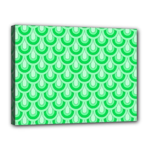 Awesome Retro Pattern Green Canvas 16  X 12  by ImpressiveMoments