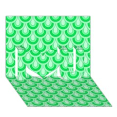 Awesome Retro Pattern Green I Love You 3d Greeting Card (7x5)  by ImpressiveMoments