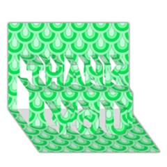 Awesome Retro Pattern Green Thank You 3d Greeting Card (7x5)