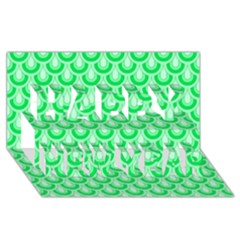 Awesome Retro Pattern Green Happy New Year 3d Greeting Card (8x4)