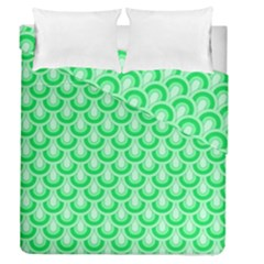 Awesome Retro Pattern Green Duvet Cover (full/queen Size)