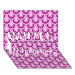 Awesome Retro Pattern Lilac You Are Invited 3d Greeting Card (7x5)