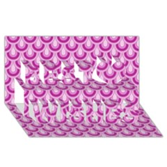 Awesome Retro Pattern Lilac Best Wish 3d Greeting Card (8x4)