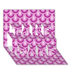 Awesome Retro Pattern Lilac Take Care 3d Greeting Card (7x5)
