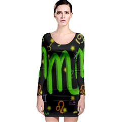 Scorpio Floating Zodiac Sign Long Sleeve Bodycon Dresses