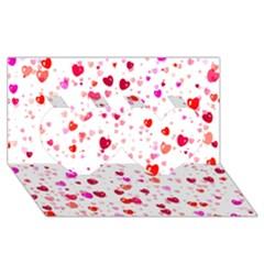 Heart 2014 0601 Twin Hearts 3d Greeting Card (8x4)