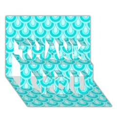 Awesome Retro Pattern Turquoise Thank You 3d Greeting Card (7x5)