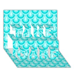 Awesome Retro Pattern Turquoise Take Care 3d Greeting Card (7x5)  by ImpressiveMoments
