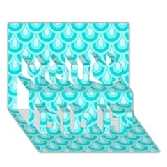 Awesome Retro Pattern Turquoise You Did It 3d Greeting Card (7x5)