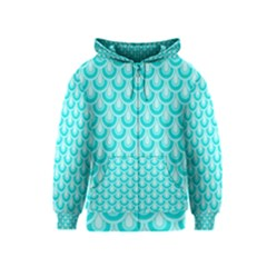 Awesome Retro Pattern Turquoise Kids Zipper Hoodies by ImpressiveMoments