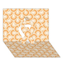 Retro Mirror Pattern Peach Ribbon 3d Greeting Card (7x5)