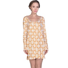 Retro Mirror Pattern Peach Long Sleeve Nightdresses