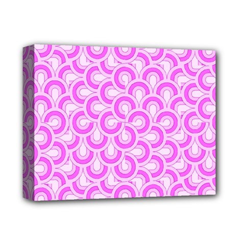 Retro Mirror Pattern Pink Deluxe Canvas 14  x 11  by ImpressiveMoments
