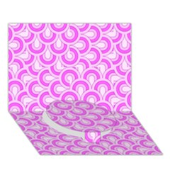 Retro Mirror Pattern Pink Circle Bottom 3d Greeting Card (7x5)